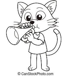 Cartoon Cat Playing a Trumpet - Cartoon cat playing a...