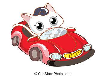 cartoon cat riding a red car
