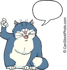 Cartoon cat said speech bubbles vector illustration