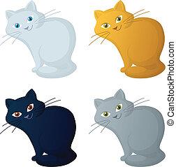 cartoon cat, set