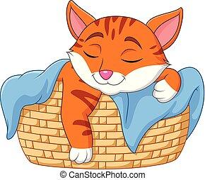 Cartoon cat sleeping in the basket