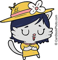 cartoon cat wearing summer hat