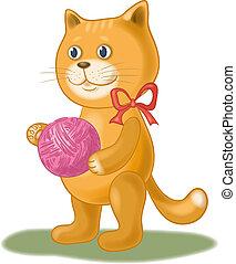 Cartoon cat with a ball of wool yarn