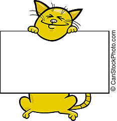 cartoon cat with board or card