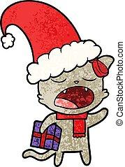 cartoon cat with christmas present