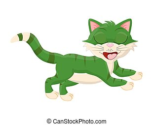 cartoon cat with closed eyes vector symbol icon design.