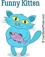 Cartoon Cat with Fish