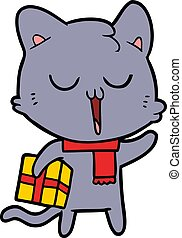 cartoon cat with gift