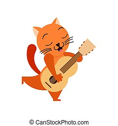 Cartoon cat with guitar