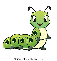 Cartoon vector cute caterpillar for design element