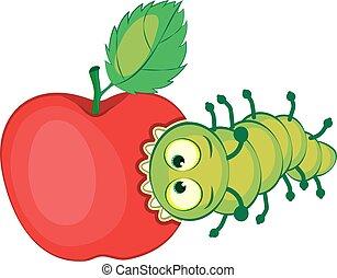 Cartoon caterpillar gnaws apple