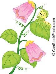 cartoon caterpillar on the plant