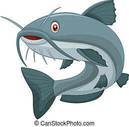 Cartoon catfish - vector illustration of Cartoon catfish