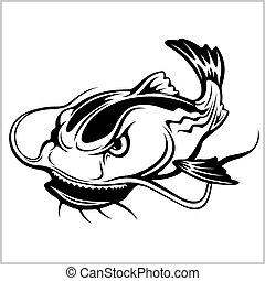 Cartoon Catfish vector illustration isolated