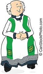 Cartoon Catholic priest. - Cartoon Catholic priest on a...