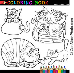 Cartoon Cats for Coloring Book or Page - Coloring Book or ...