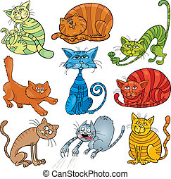 cartoon cats set - cartoon illustration of funny nine cats ...