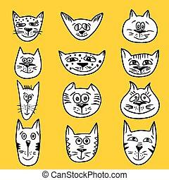 Cartoon cats set - Vector sketch emotional smiling cat faces...