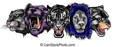 Cartoon cats vector set. Illustration of black panther, cougar, jaguar, leopard, lion, tiger, cheetah, snow leopard.