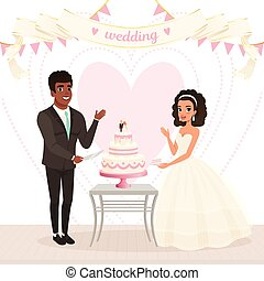 Cartoon caucasian bride and afro-american groom cutting wedding cake. Happy day. Couple in love. Woman in lush dress, man in classic black suit. Flat vector design