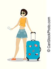 Cartoon caucasian female passenger with modern suitcase