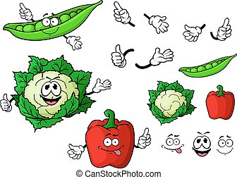 Cartoon cauliflower, bell pepper and pea pod vegetables