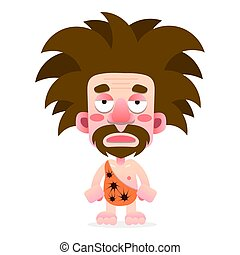 Cartoon cave-man in animal skin vector illustration on white background