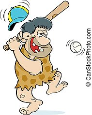 Cartoon caveman hitting a baseball.