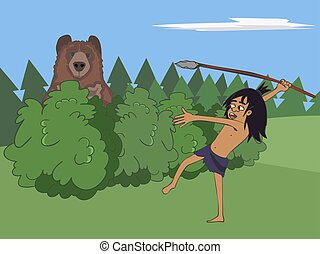 cartoon caveman hunts the bear with stone spear