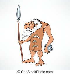 Confused caveman with a rock hammer. This illustration... drawings ...