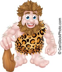 Cartoon Caveman with Club