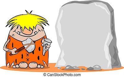 Cartoon Caveman with Hammer
