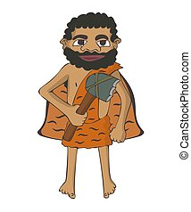 cartoon caveman with stone axe