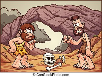 Cartoon cavemen looking at a skull. Vector clip art...