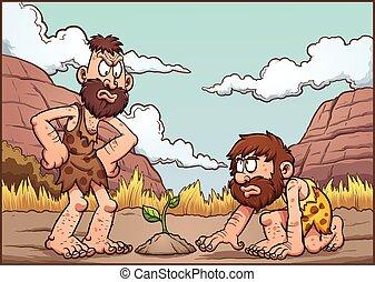 Cartoon cavemen discussing over a plant. Vector clip art...