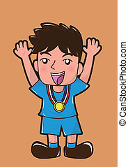 cartoon celebrate win the medal