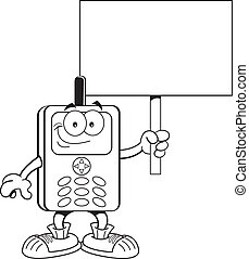 Cartoon cell phone holding a sign