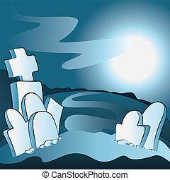 Cartoon cemetery