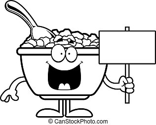 Cartoon Cereal Sign - A cartoon illustration of a bowl of...