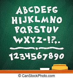 Cartoon Chalk Vector Font on Green School Board