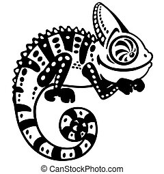 cartoon chameleon black and white - cartoon chameleon...