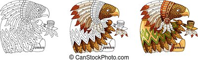 Cartoon character american eagle in traditional indian national costume coloring
