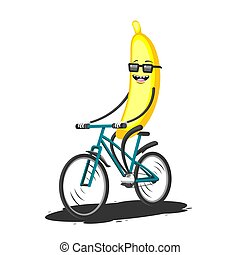 Cartoon character banana with glasses rides a Bicycle on a white isolated background. Vector image