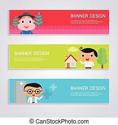 Cartoon character banner design set