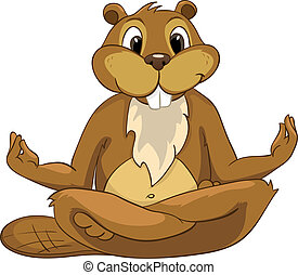 """Cartoon Character Beaver CREES Isolated on White Background. Vector..Look for Fun Beaver by Keyword """"CREES"""""""