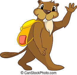 """Cartoon Character Beaver CREES Isolated on White Background. Vector..Look for Funny Beaver by Keyword """"CREES"""""""