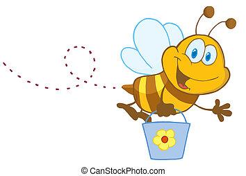 Cartoon Character Bee Flying Bucket - Happy Honey Bee Flying...