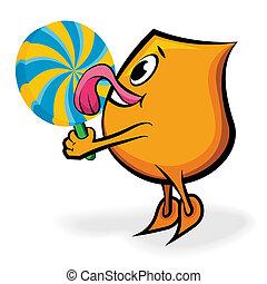 Cartoon character Blinky licking big lollipop, vector illustration