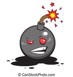 Cartoon character bomb with a burning fuse on a white isolated background. Vector image