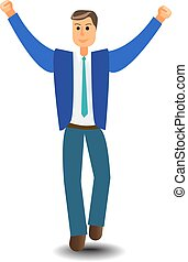 Cartoon character Business Man Excited Hold Hands Up Raised Arms